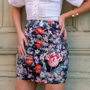 MINKPINK Botanica Satin Mini Skirt NWT